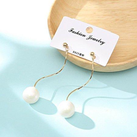 Simple Geometry Long Earrings Women Silver Needle Hypoallergenic Earrings - image 2 of 4