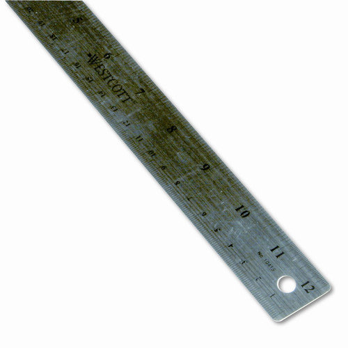 WESTCOTT Stainless Steel Ruler with Cork Back and Hanging Hole, 12'', Silver