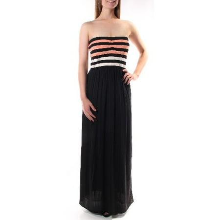 RACHEL ROY Womens Black Slitted Striped Sleeveless Strapless Tea Length Empire Waist Dress  Size: L