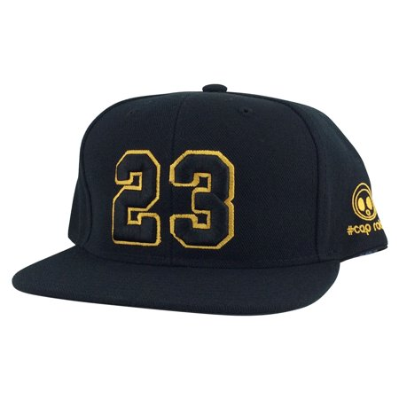 Player Jersey Number #23 Snapback Hat Cap  Air Jordan Lebron Black Gold (Air Jordan 1 Black And Gold For Sale)