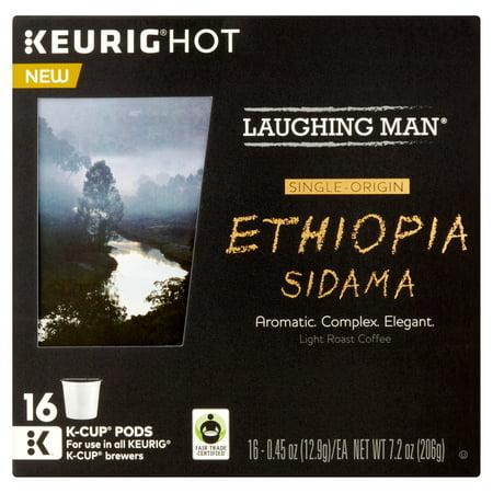 Laughing Man Keurig Hot Ethiopia Sidama Light Roast Coffee K-Cup Pods, .45 oz, 16 count