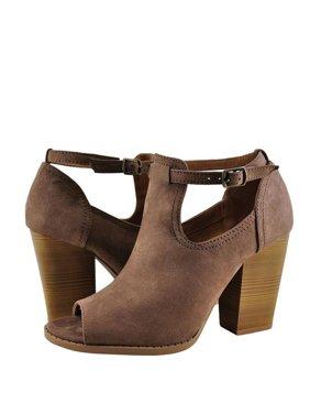 faa825567cf Product Image Qupid Georgia 01 Women s Cutout Peep Toe Stacked Heel Booties
