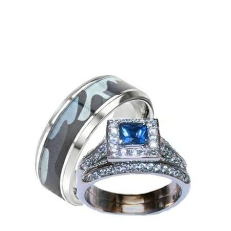 Camo Ring Set (His Hers Blue and Clear Stone Wedding Ring Set Men's Blue Camouflage)