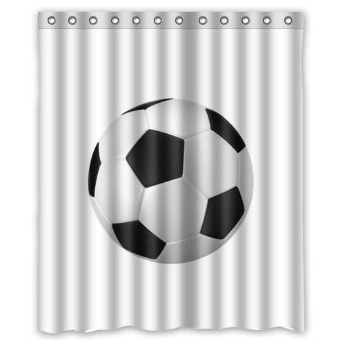 GreenDecor Football Soccer Waterproof Shower Curtain Set With Hooks Bathroom  Accessories Size 60x72 Inches