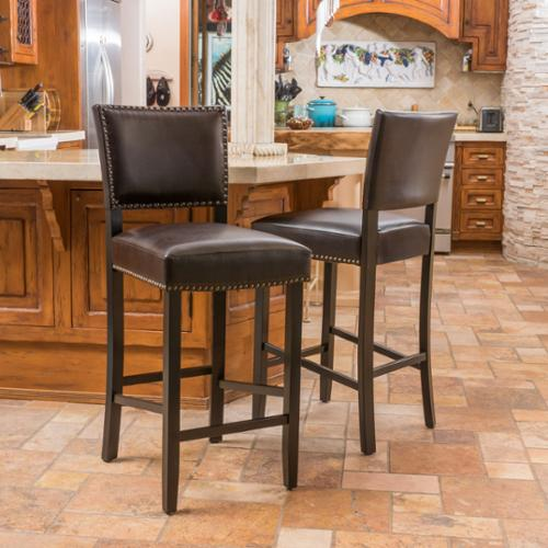Christopher Knight Home Owen Bonded Leather Backed Barstools by  (Set of 2)