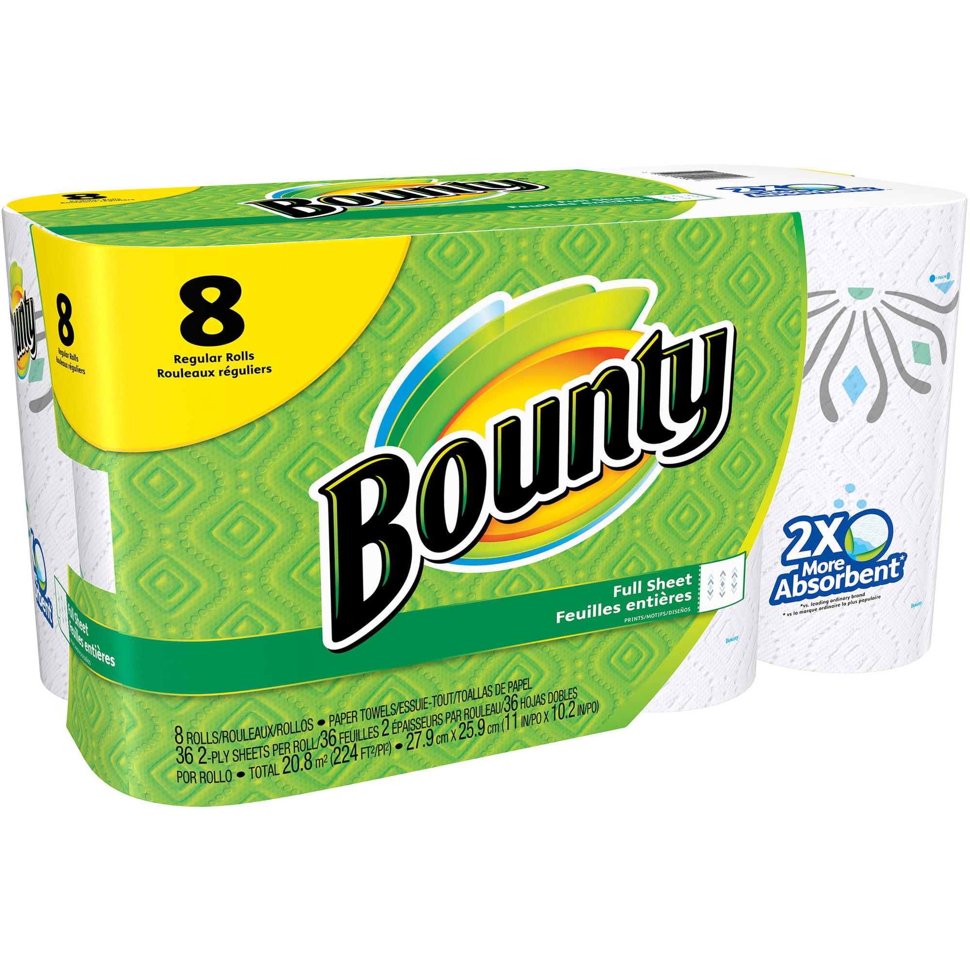 Bounty Regular Rolls Paper Towels, 36 sheets, 8 rolls