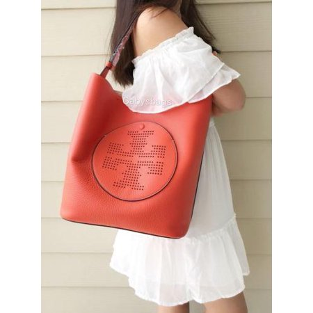 29c1fe1be5b Tory Burch - NWT TORY BURCH Perforated Logo Hobo Tote Handbag ALL T Bombe  Orange Coral Ella - Walmart.com