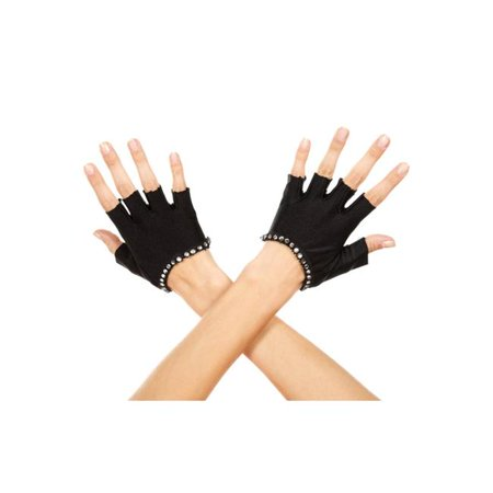 Faux Rhinestones Trim Fingerless Gloves, Black