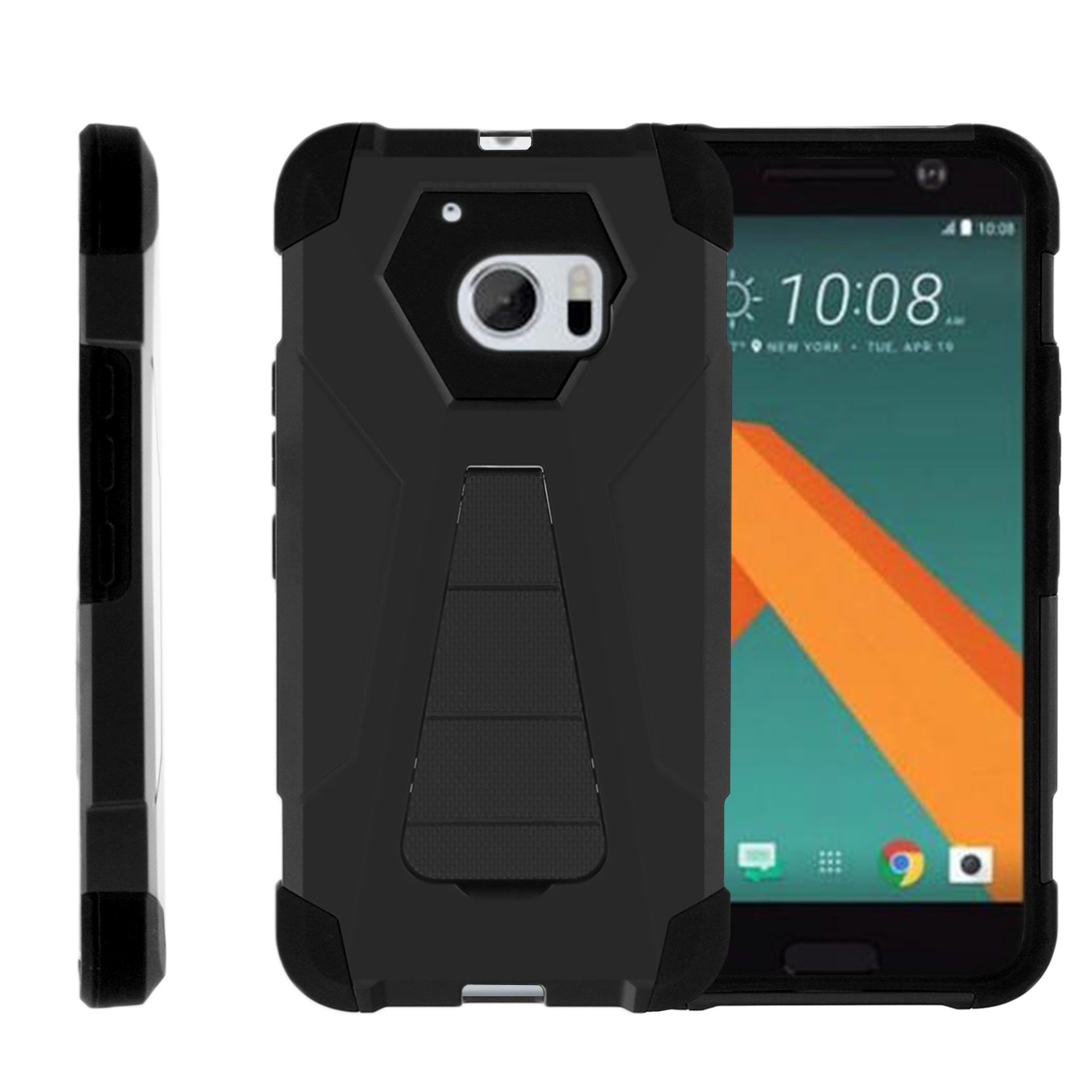 TurtleArmor ® | For HTC 10 | HTC One M10 | HTC 10 Lifestyle [Dynamic Shell] Dual Layer Hybrid Silicone Hard Shell Kickstand Case - Black