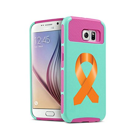 For Samsung Galaxy (S6 Edge + Plus) Shockproof Impact Hard Soft Case Cover Leukemia Cancer Multiple Sclerosis Kidney Cancer Color Awareness Ribbon (Teal-Hot Pink)