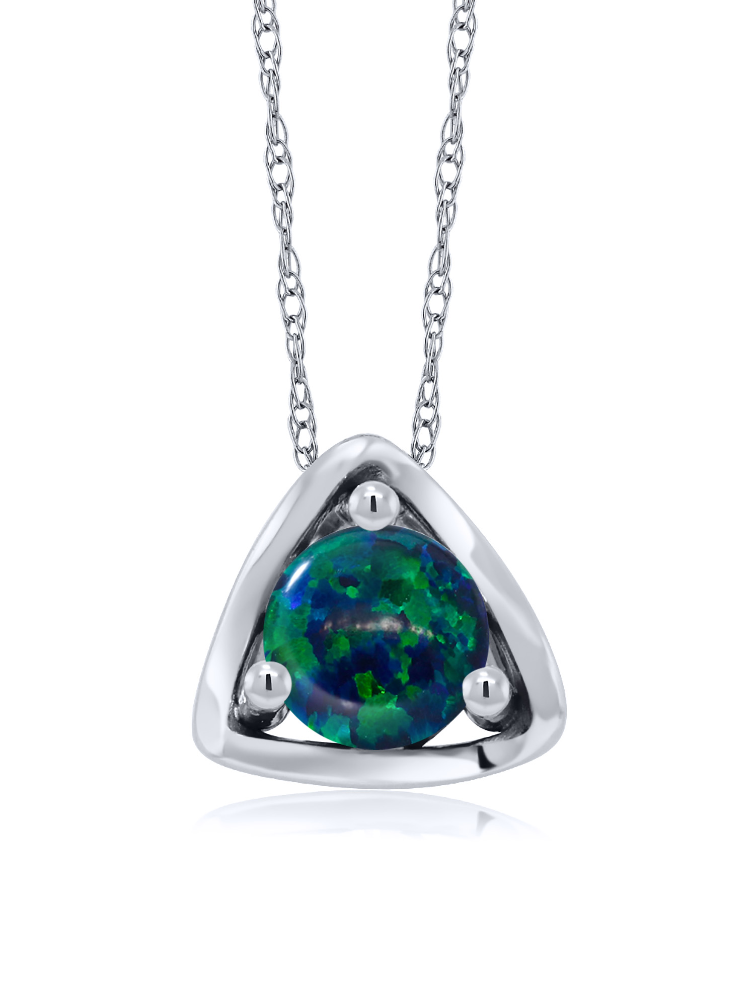 0.50 Ct Round Cabochon Green Simulated Opal 10K White Gold Pendant With Chain by