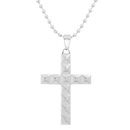 Silver-Tone Men's Squared Studded Cross Pendant Ball Chain Necklace in Stainless -