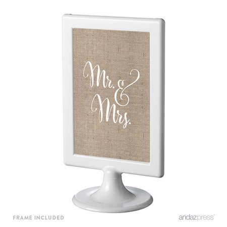 Mr. & Mrs. Framed Burlap Wedding Party Signs