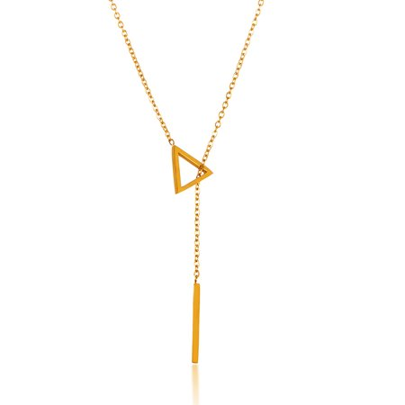 Gold Plated Triangle Bar Drop Lariat Stainless Steel Necklace 18