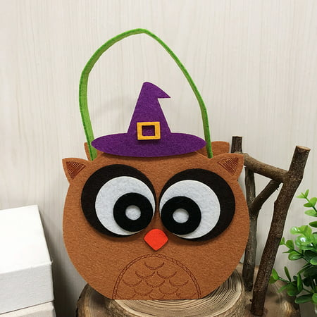 Halloween Non-Woven Candy Bag Trick or Treat Kids' Candy Bucket with Handle Halloween Party Costumes Supplies Decoration--Owl - Easy Halloween Classroom Treats