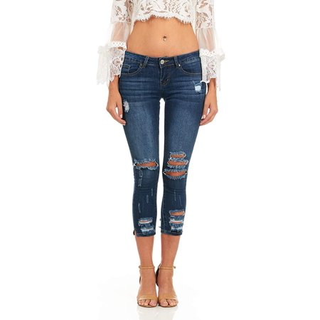 Cover Girl Denim Ripped Jeans for Women Juniors Cropped Slim Fit Skinny Jeans Size 11\12 Dark Rinse