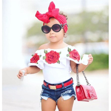Fashion Toddler Kids Baby Girls 3D Flower Tops Denim Hot Pants Outfits Clothes - Girls Hot Clothes
