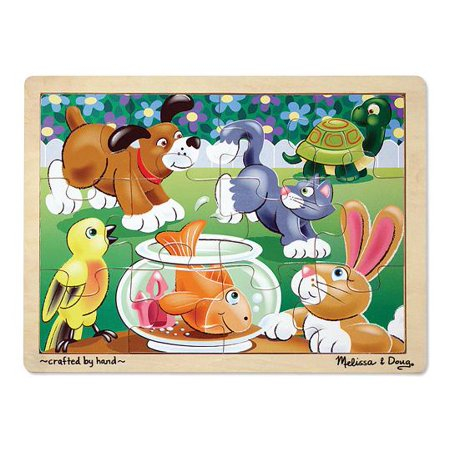 12 Piece Tray Puzzles (Melissa & Doug Pets Wooden Jigsaw Puzzle With Storage Tray (12)