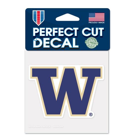 Washington Huskies Official NCAA 4 inch x 4 inch  Die Cut Car Decal by WinCraft