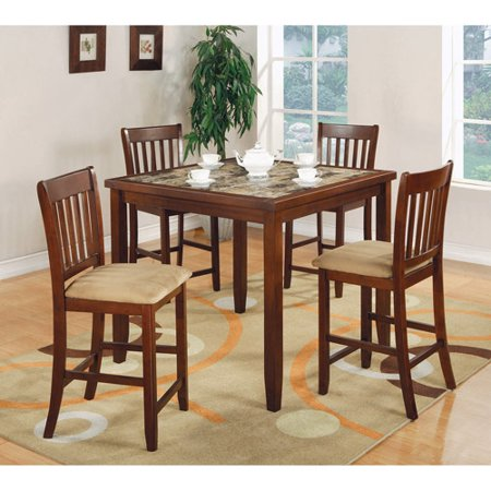 - Coaster Company Lucia Square Dinette, Faux marble top/Red Brown Finish