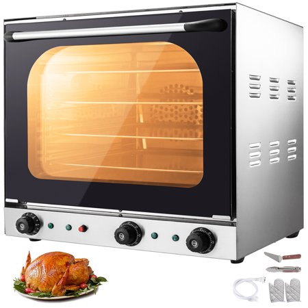 VEVOR 110V Commercial Convection Oven 60L/2.12 Cu.ft Capacity 2600W Electric Toaster Oven 50-350℃ Multifunction Oven 4-Tier with Spray Function Perfect for Roasting Baking Drying Steaming Defrosting