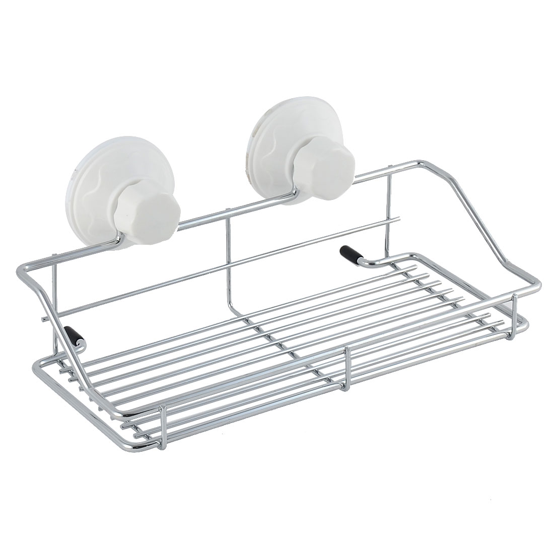 Unique Bargains Household Bathroom Suction Cup Storage Shelf Holder Rack White Silver Tone