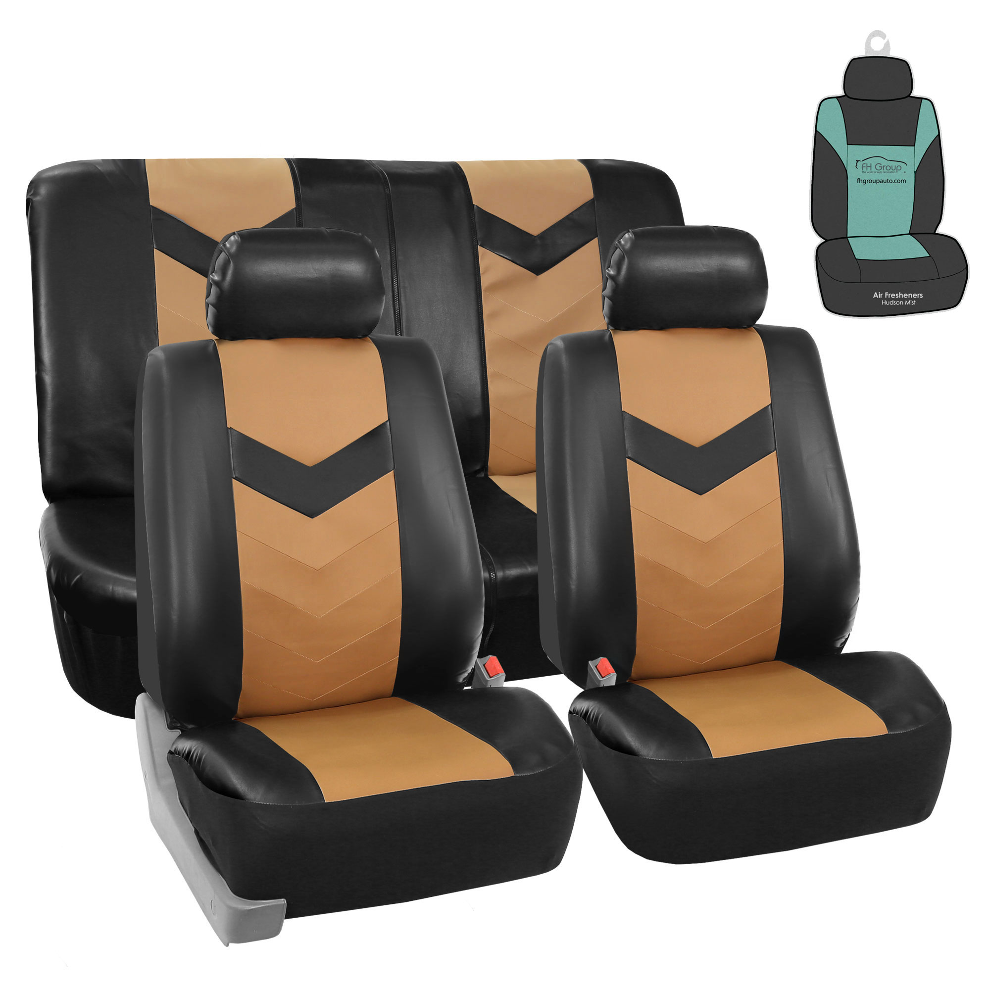 FH Gorup PU Leather Seat Covers For Auto Car SUV Tan Black w/ Accessories / Free Gift