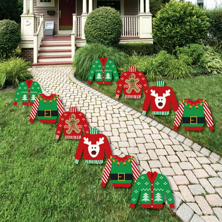ugly sweater sweater lawn decorations outdoor holiday christmas yard decorations 10 piece - Outdoor Christmas Lawn Decorations