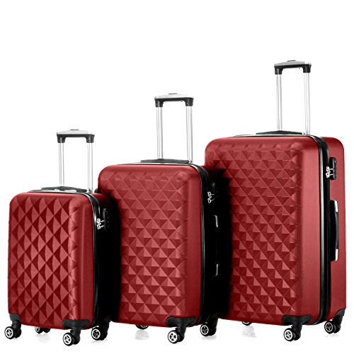 "Timmari Hard Lightweight Expandable ABS Luggage Set – 29"" + 26"" + 21"" (Wine)"