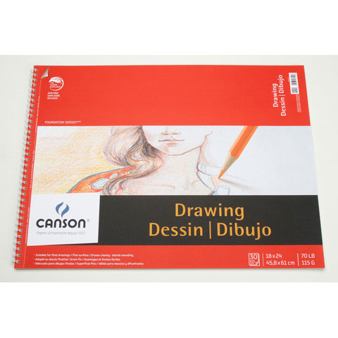 Canson Foundation Drawing Pad - 18 x 24 inches - 30 sheets