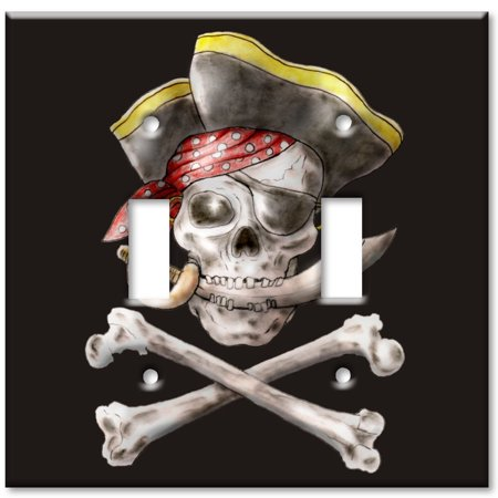 Double Gang Toggle OVERSIZE Wall Plate Pirate