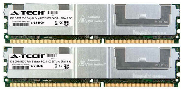 8GB Kit 2x 4GB Modules PC2-5300 667MHz 1.8V 2Rx4 ECC Fully Buffered DDR2 DIMM Server 240-pin Memory Ram