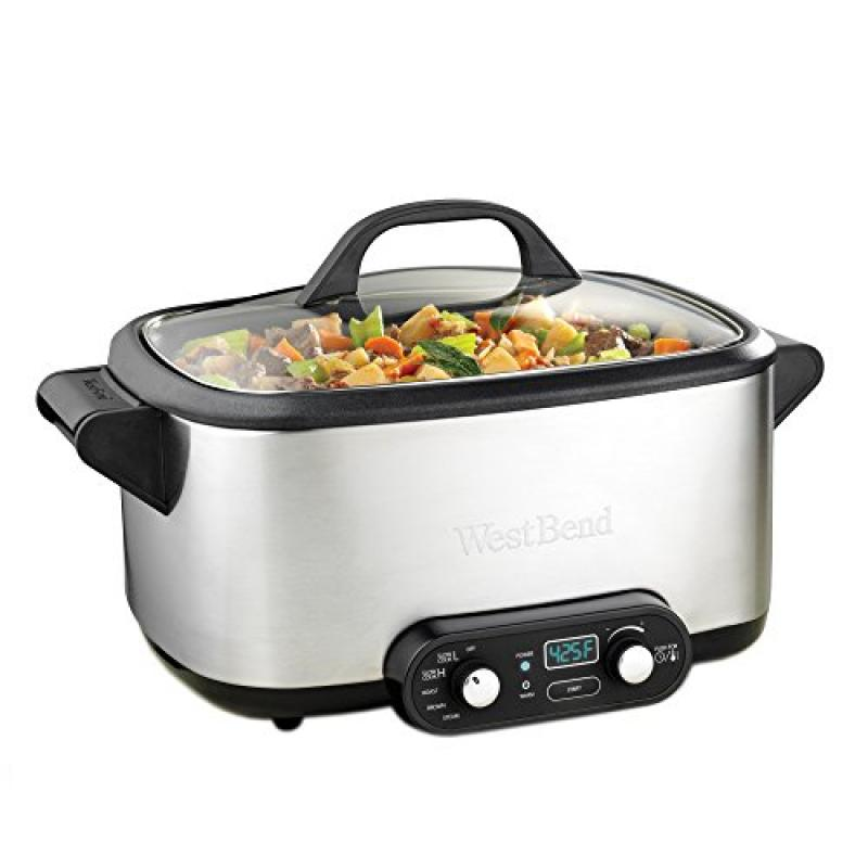 West Bend 4-in-1 Multicooker Slowcooker, 7-Quart, Stainle...