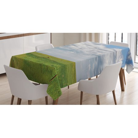 Rustic Home Decor Tablecloth  Canadian Timber House In Terrain Grassland With Clouds In Air Landscape  Rectangular Table Cover For Dining Room Kitchen  60 X 84 Inches  Green Blue  By Ambesonne
