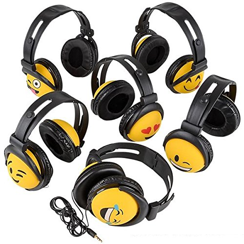 Emoji Stereo Headphones 1 PK Assorted