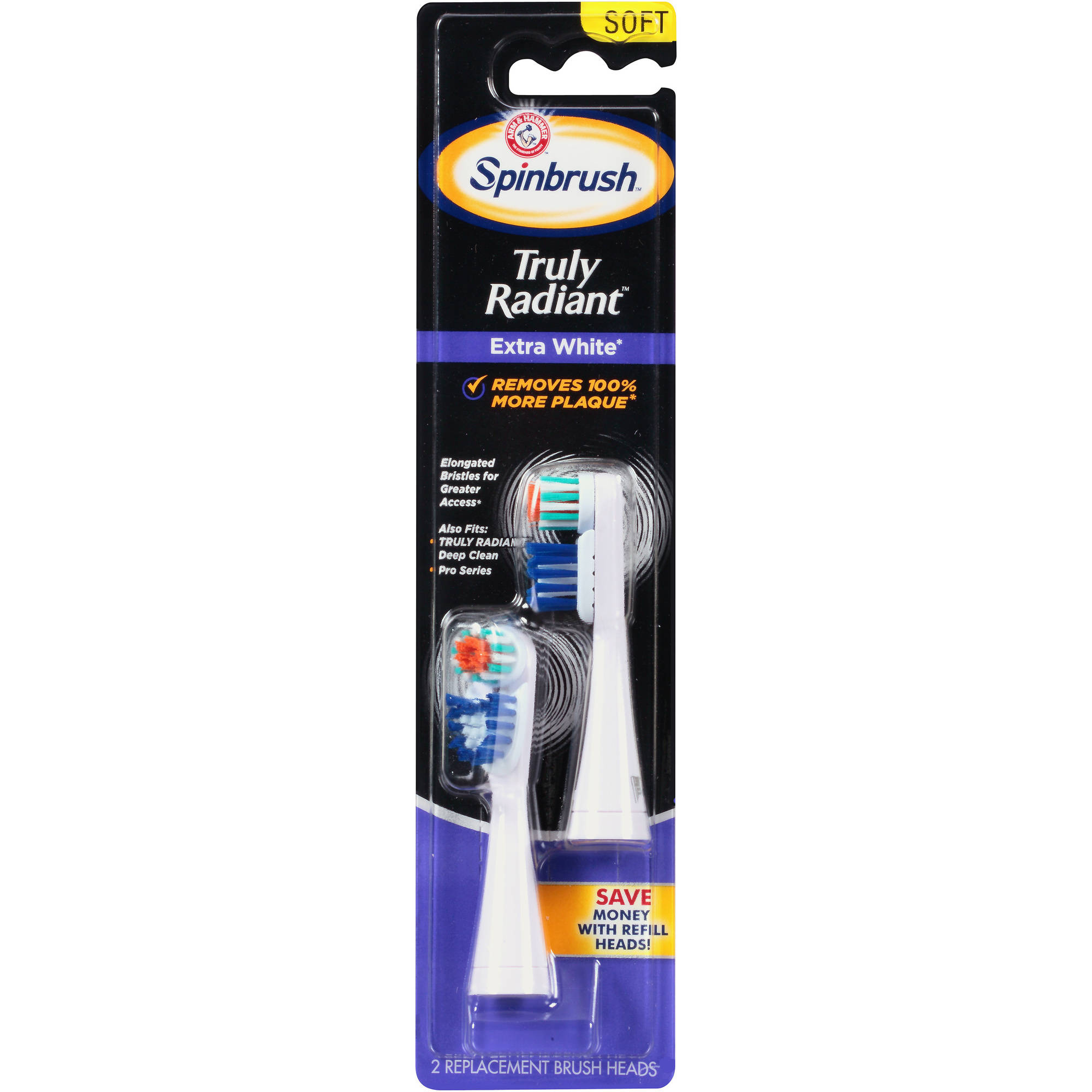 Arm & Hammer Spinbrush Truly Radiant Extra White  Replacement Toothbrush Heads, 2 count