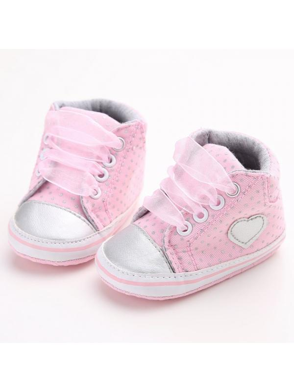 Tommyfit Newborn Baby Girls Laces High-Top Ankle Sneakers Soft Sole Crib Shoes