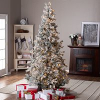 product image 75ft pre lit lightly flocked whiteland pine wlaser glitter christmas tree by - Small Flocked Christmas Tree