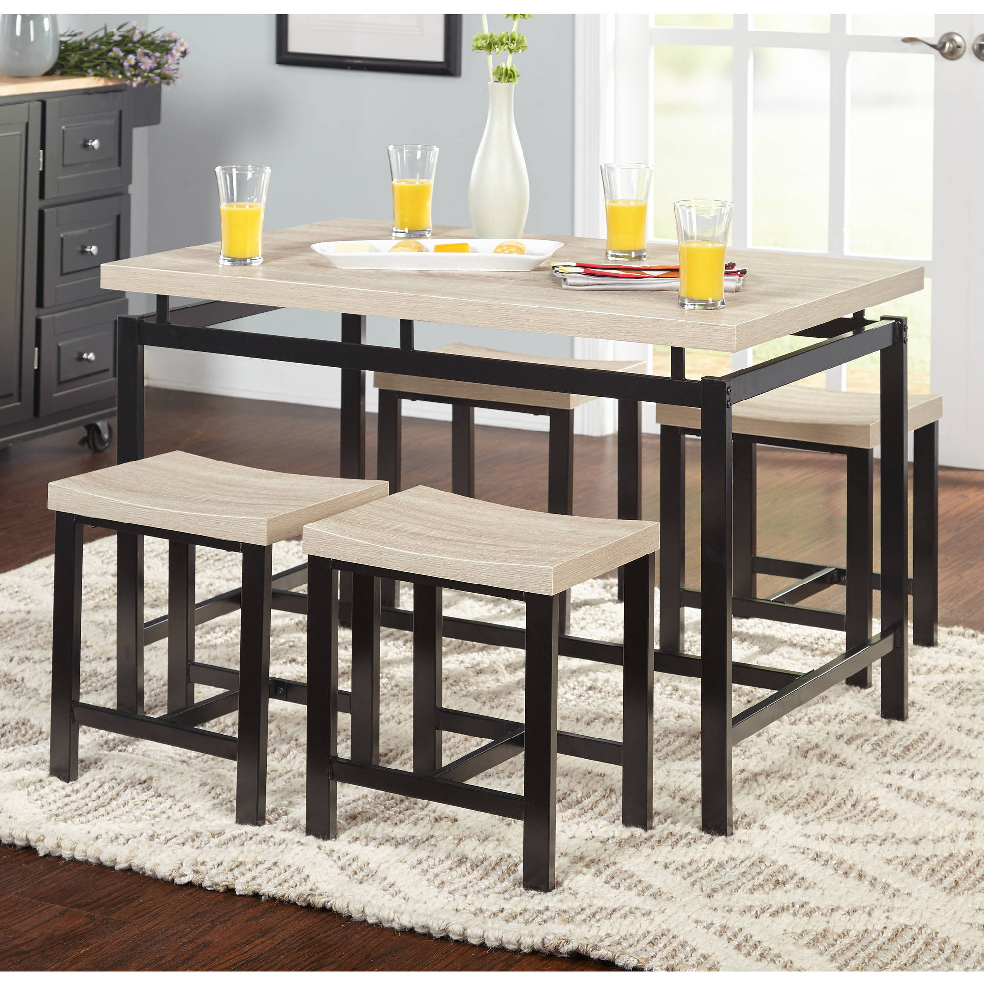 5 Piece Delano Dining Set, Natural   Walmart.com