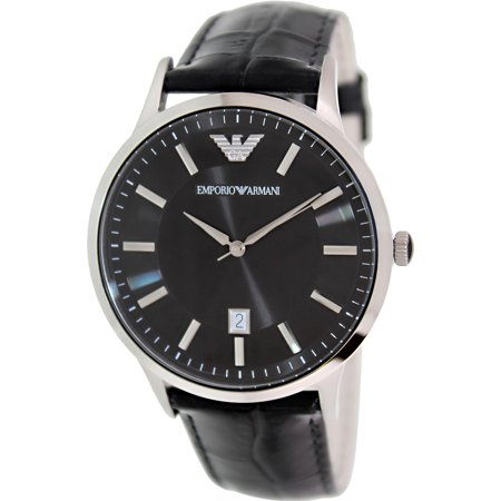 Emporio Armani Men's Super Slim AR2411 Black Leather Analog Quartz Fashion Watch