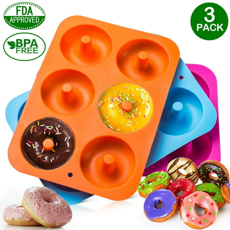 3-Pack Donut Baking Pan of 100% Nonstick Silicone. BPA Free Mold Sheet Tray. Makes Perfect 3 Inch Donuts. Tray Measures 10x7 Inches. FDA Approved Food Grade. Easy Clean, Dishwasher Microwave -