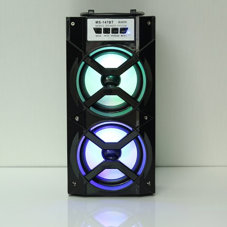 Wireless Dual Horns Portable Hi Fi Stereo Outdoor LED Sound Party Speaker MP3 FM Radio w/ USB TF AUX LED DJ Lights For Cellphone PC With