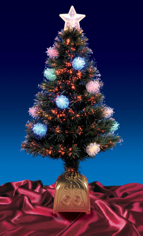 4' Pre-Lit LED Fiber Optic Pine Cone Artificial Christmas ...