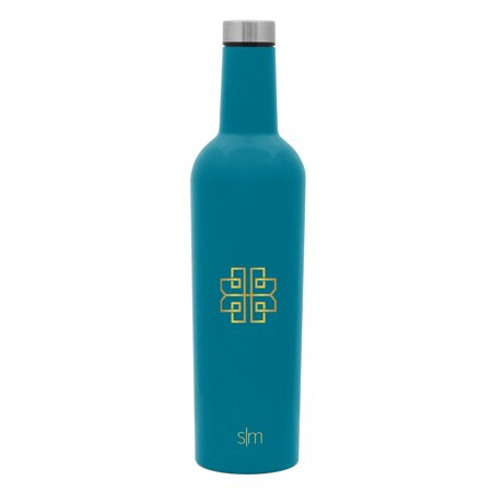 Patricia Heaton Home Southampton Collection Simple Modern Spirit 25oz Wine Bottle - INDIVIDUAL Vacuum Insulated Water Bottle Leak Proof Double Wall - 18/8 Stainless Steel - Blue