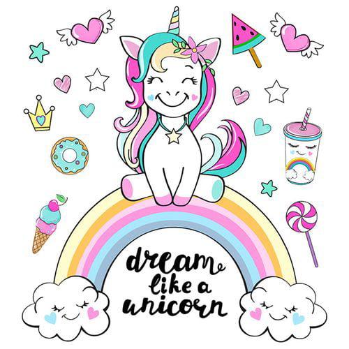 Cartoon Unicorn Horse Rainbow Heart Star Wall Stickers Decal Kid Room Home Decor