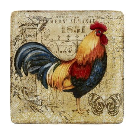 Gilded Rooster Square Platter -