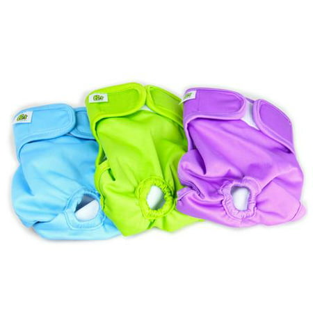 Extra Small Washable Dog Diapers for Male and Female Dogs (3-PACK) - Best Resuable Diapers