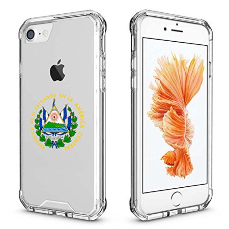 For Apple iPhone Clear Shockproof Bumper Case Hard Cover El Salvador Escudo Coat Of Arms Salvadorean Flag (Clear For iPhone 6 / 6s) (Iphone El Ultimo)