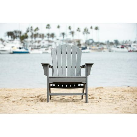 LuXeo Hampton Gray Poly Outdoor Adirondack Chair