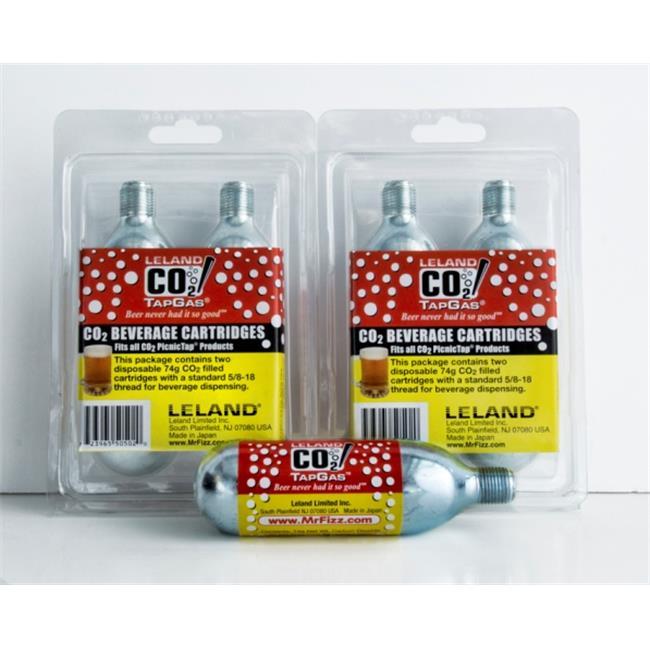 Leland Mr. Fizz CO2 Tapgas Four 74g CO2 Cylinders Per Pack for Picnictap & Fridgetap
